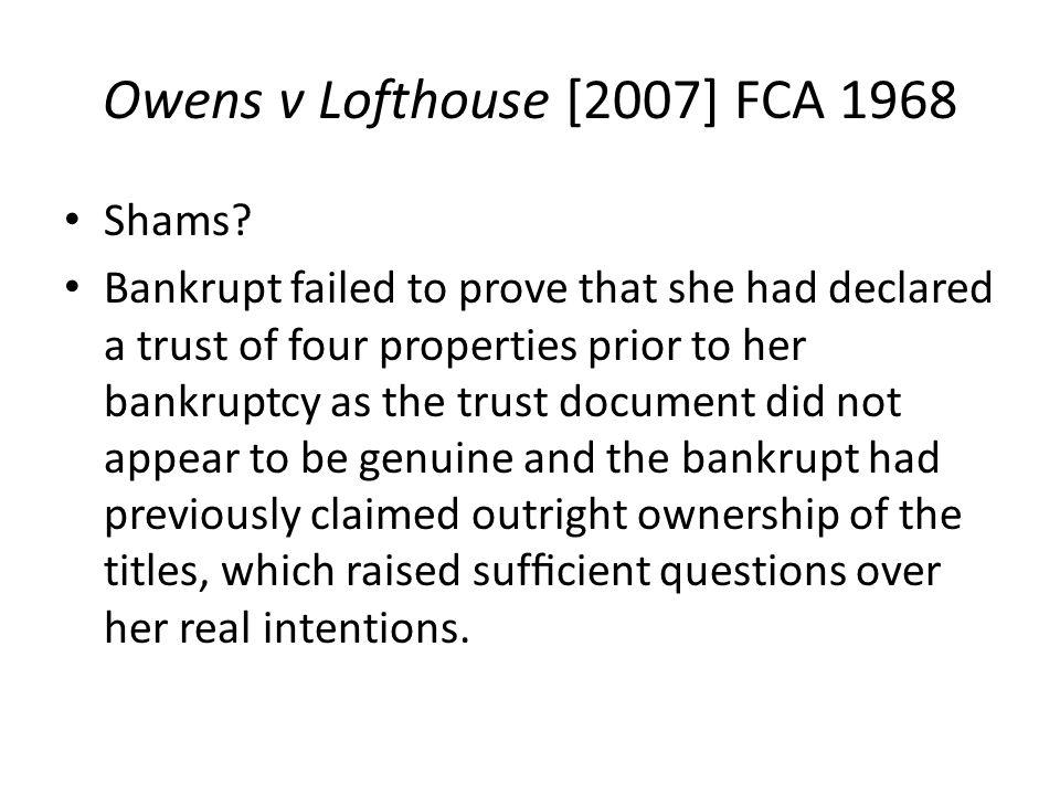 Owens v Lofthouse [2007] FCA 1968
